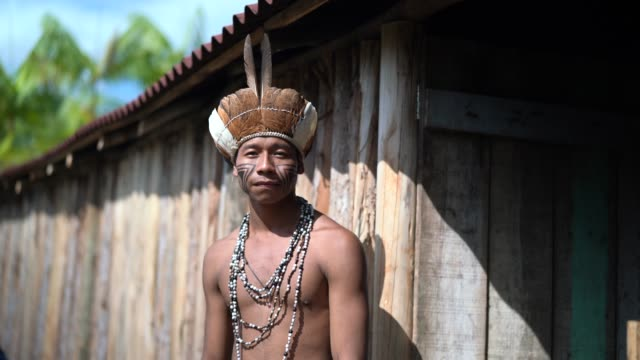 indigenen brasilianischen jungen mann portrait von guarani ethnizität zu hause - stamm stock-videos und b-roll-filmmaterial