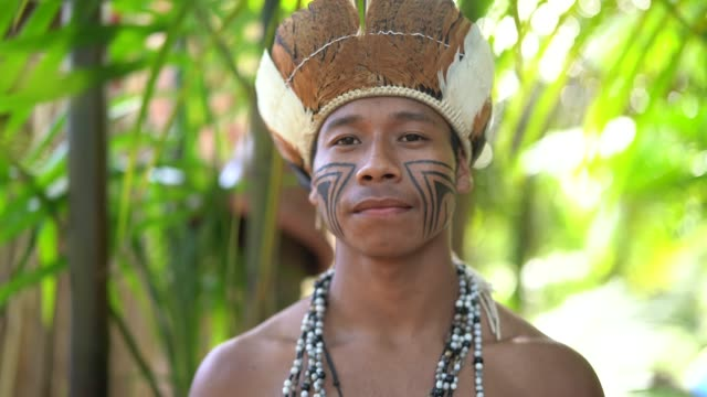 einheimischen jüngling brasilianischen porträt von guarani ethnizität - brasilianische kultur stock-videos und b-roll-filmmaterial