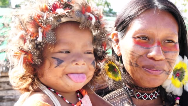 Indigenous Brazilian Young Woman and Her Child, Portrait from Guarani Ethnicity