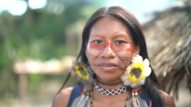 Indigenous Brazilian Young Woman, Portrait from Guarani Ethnicity Beautiful shooting of how Brazilian Natives lives in Brazil amazon stock videos & royalty-free footage