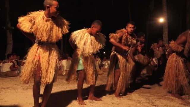 Indigenous Fijian men dancing the traditional meke wesi male dance video