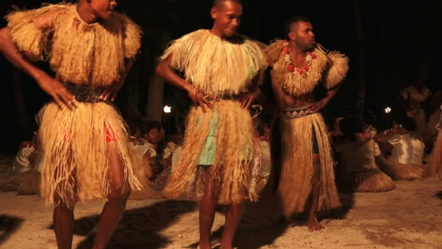 Indigenous Fijian Men Dancing The Traditional Meke Wesi Male Dance
