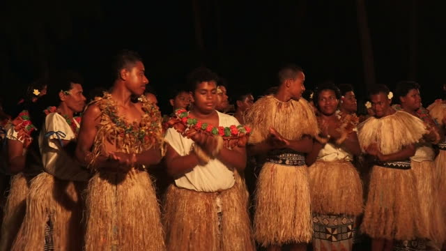 Indigenous Fijian people sing and dance video