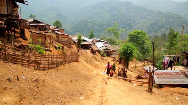 Indigenous tribal culture of Akha tribe village, Pongsali, Laos video