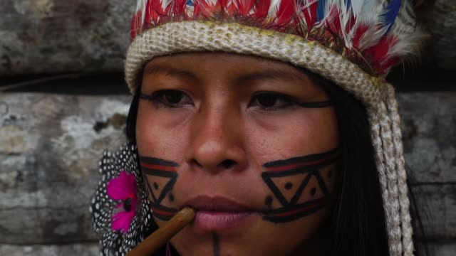 Indigenous Woman Smoking Pipes in a Tupi Guarani Tribe, Brazil video