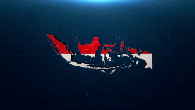 4K Indonesia map with national flag