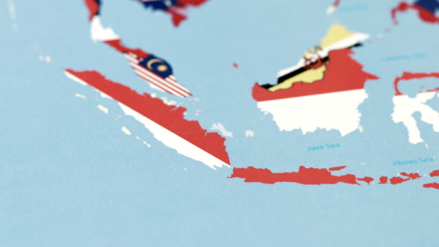 Indonesia With National Flag On World Map Stock Video More Clips