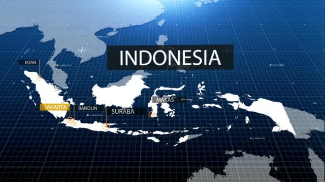 vidéos et rushes de carte indonésienne avec étiquette puis avec étiquette - indonésie