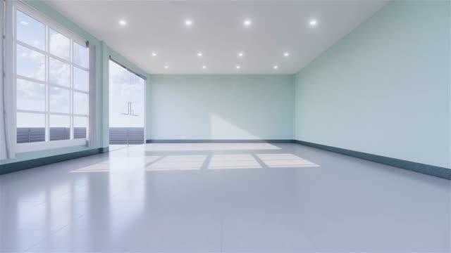 крытый пустой номер японии стиль. 3d рендеринг - элемент здания стоковые видео и кадры b-roll