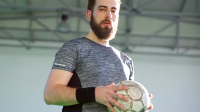 Indoor Soccer Player Holding The Ball video