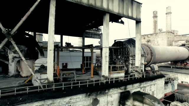 Industrial area. Part of functioning rotary kiln video