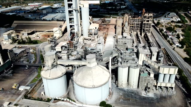Industrial background with large cement factory