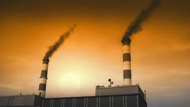 Industrial Building with Smoke Towers (HD Loop) video