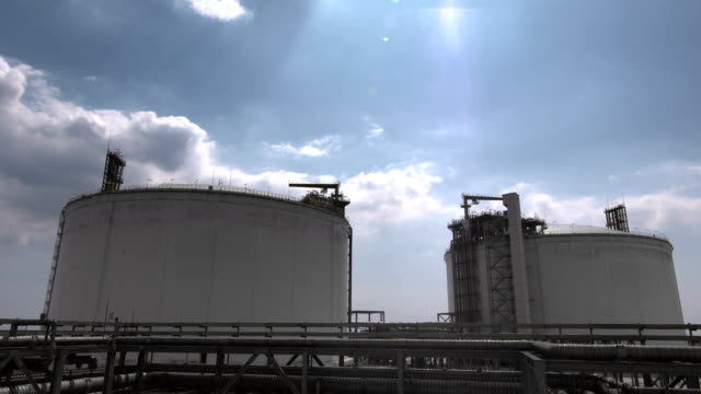 Industrial Building-LNG Oil Gas Equipment Industrial Building-LNG Oil Gas Equipment storage tank stock videos & royalty-free footage