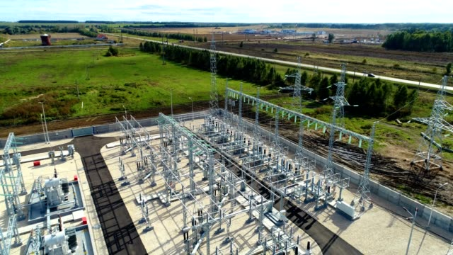 industrial buildings and switchgears at substation