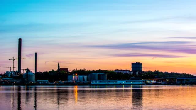 Industrial Buildings at Dusk video