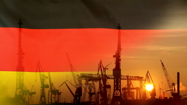 Industrial concept with Germany flag at sunset video
