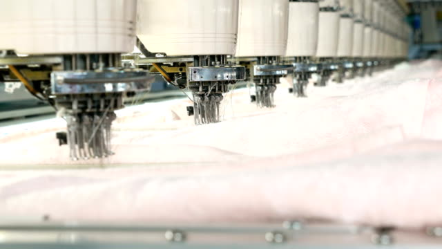 Industrial embroidery machine in the textile factory