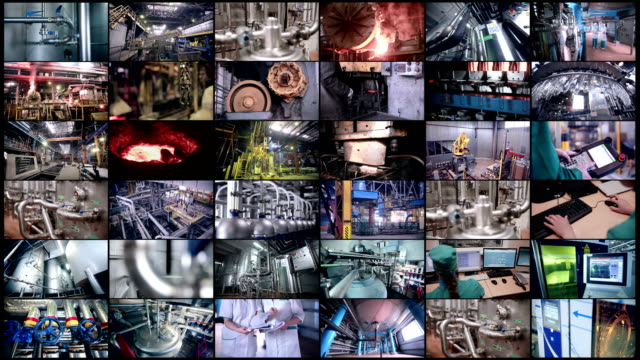 industrial equipment working. split screen, multiscreen. - montaggio in sequenza video stock e b–roll