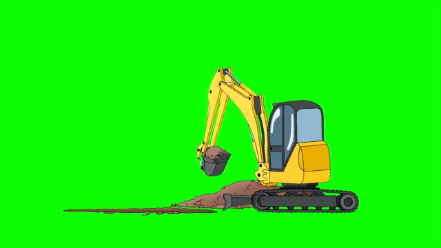 industriella grävmaskin gräver hål isolerad på grön skärm - excavator bildbanksvideor och videomaterial från bakom kulisserna