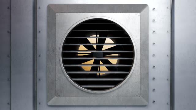 industrifläkt av luftventilationssystem slutar snurra. bristande värme eller kylsystem. 60 fps animation. - värmepump bildbanksvideor och videomaterial från bakom kulisserna
