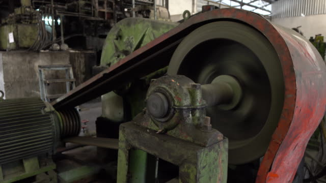 Industrial lathe mechanism in manufacturing process video