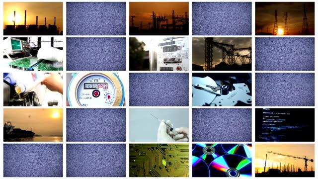 Industrial multiscreen, 25 screens static video