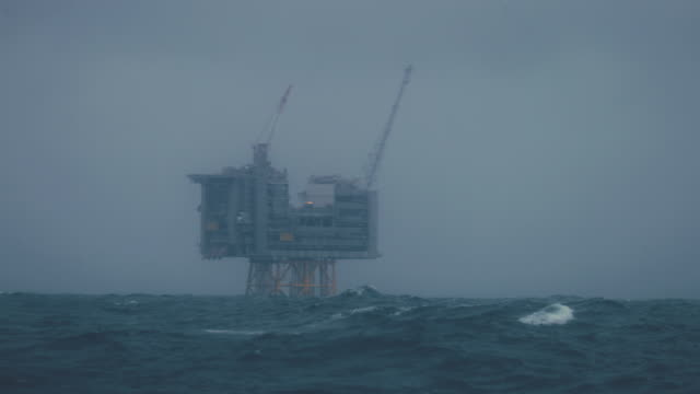 Industrial oil rig offshore platform construction site on the North Seacoast