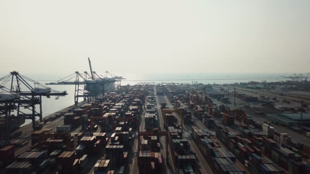 Industrial port with Container port where is a part of shipping