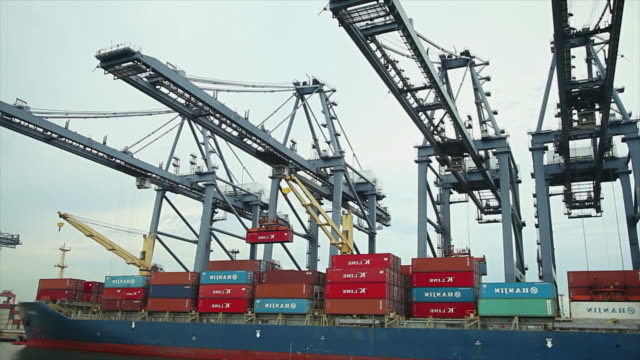 Industrial port with containers ship in the harbor video