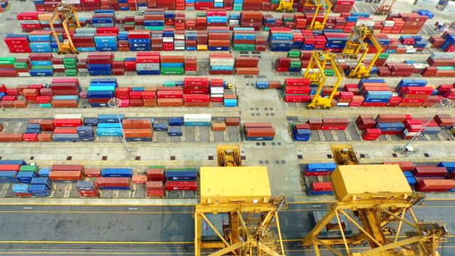 Industrial port with containers ship,Aerial View video