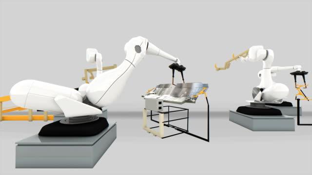 Industrial Robot arm active in factory. video