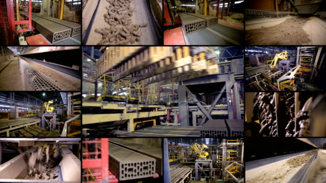 industrial robotic equipment at work. split screen montage. 4k. - montaggio in sequenza video stock e b–roll