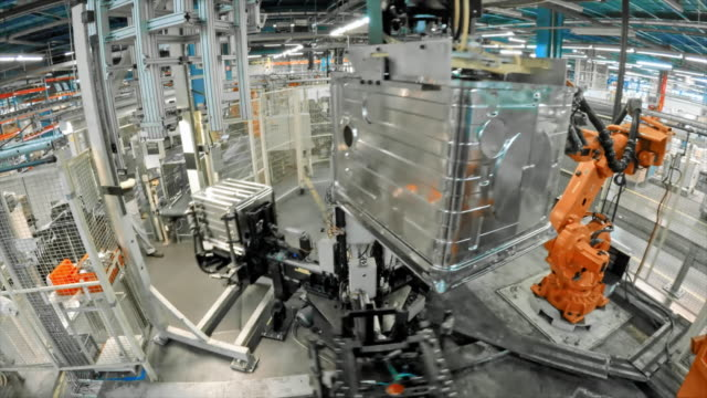 Video TIME LAPSE Industrial robots operating in the factory