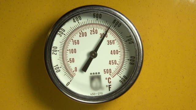 Industrial thermometer with moving indicator