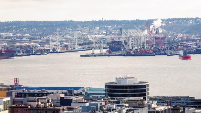 Industrial Tima Lapse of Harbor Island Cargo Ship Port in Elliot Bay Seattle