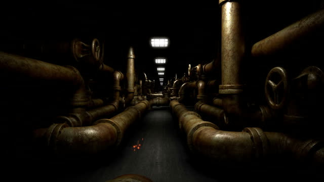 Industrial underground tunnel with piping system. video