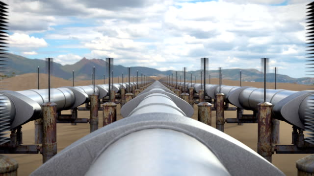 Industrial view above oil and natural gas pipeline video