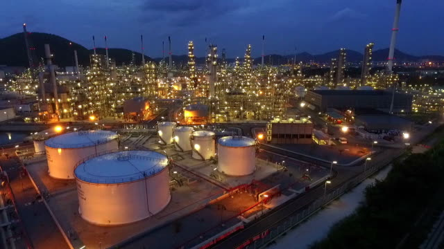 Industrial view at oil refinery plant form industry zone video