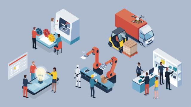 industry 4.0 and automation infographic - манипулятор робота производственное оборудование стоковые видео и кадры b-roll