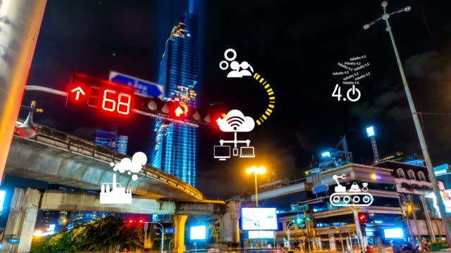 Industry 4.0 The future revolution cyber physical systems traffic Night at mahanakhon Bangkok Thailand Industry 4.0 The future revolution cyber physical systems traffic Night at mahanakhon Bangkok Thailand computer aided manufacturing stock videos & royalty-free footage