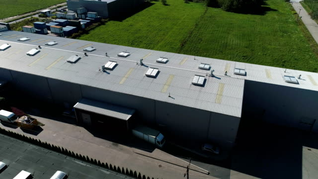 Industry building exterior. Aerial view video