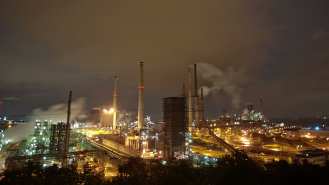 (TIME LAPSE) Industry Time lapse of heavy industry at night. duisburg germany.  foundry stock videos & royalty-free footage