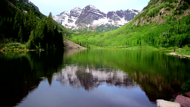 Infamous Maroon Bells Massive Towers of Rock in Aspen Colorado Rocky Mountain Bliss with Crater Lake video