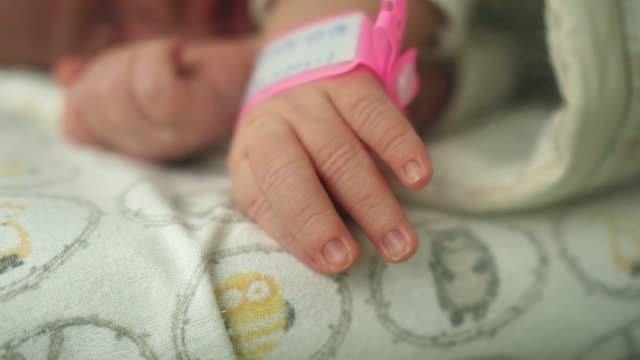 infant newborn hand arm wrist pink girl band hospital  identification wristband - браслет стоковые видео и кадры b-roll