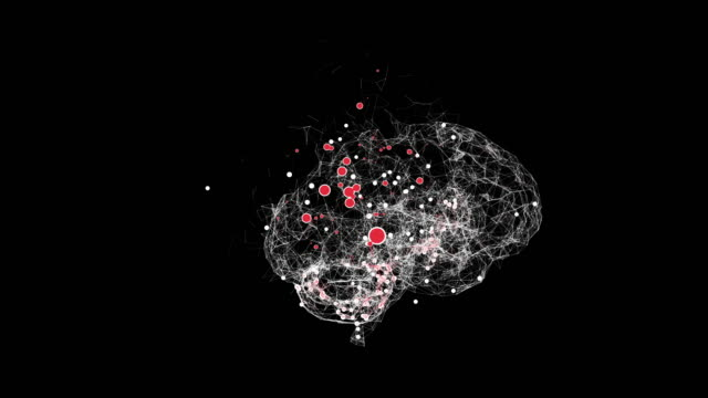 Infected brain model losing some parts over black background.