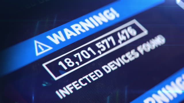 Infected devices countdown, network breach, hacking attack, virus infection