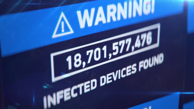 Infected devices found, countdown of hacked computers, virus spreading, attack
