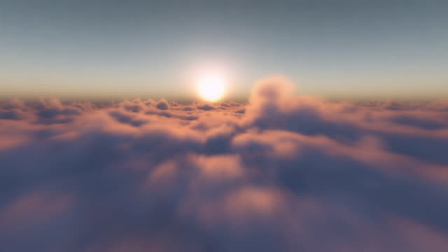 Infinite Seamless Flight above Clouds perfectly looped at Sunset