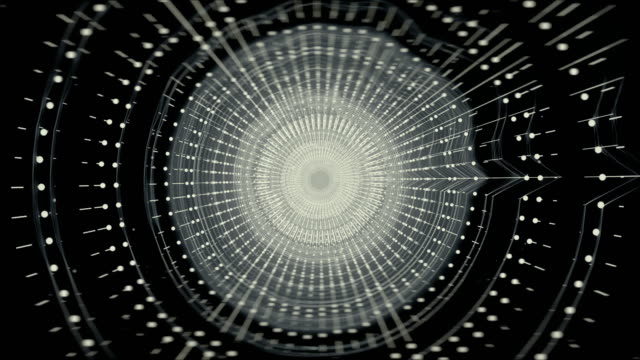 Infinite silver tunnel of sound waves looped background - video
